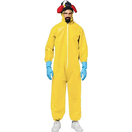 Men's Breaking Bad Toxic Walter White Jumpsuit Hazmat Suit Adult Costume, OS -