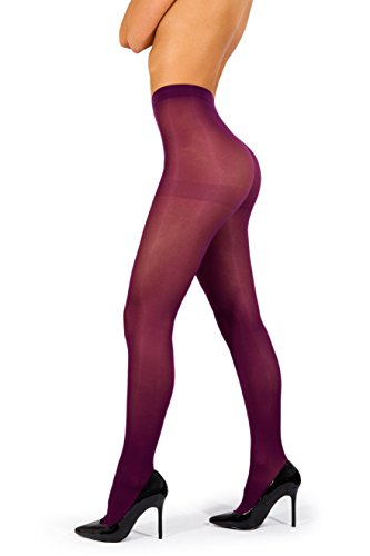 sofsy Opaque Microfibre Tights Invisibly Reinforced Opaque Brief Pantyhose 40Den [Made In Italy] Purple 3 - (Opaque Womens Hosiery)