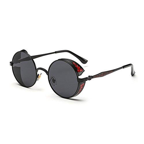 Retro de Lunette glasses Femmes Round Steampunk Sun Gris Metal soleil Frame Noir Gothic Vintage Lunettes Hommes rOqtrgxwH
