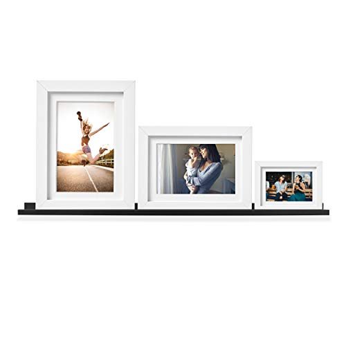 Wallniture Denver Wall Mounted Floating Shelf | Long Picture Ledge and Bookshelf for Chic Home Decor, 46 Inch, Black