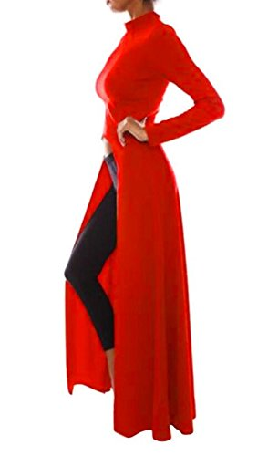 Stand Sleeve Dress Long Long Red High Women Collar Domple Casual Split PSqgxEwn4a