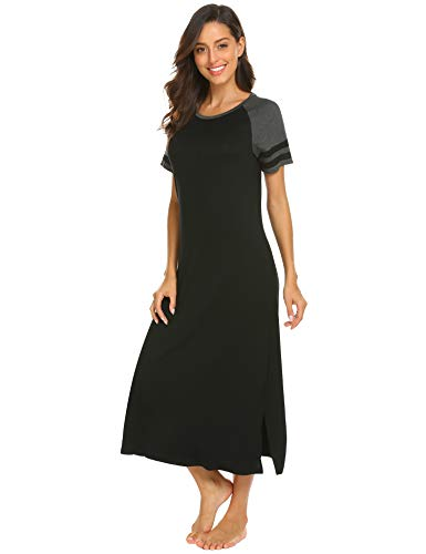Casual Nights Women's Sleepwear Short Sleeve House Dress Nightgown Black XL by Hotouch