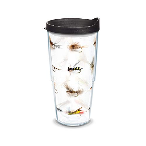 Tervis Fish Flies Wrap Tumbler with Black Lid, 24-Ounce