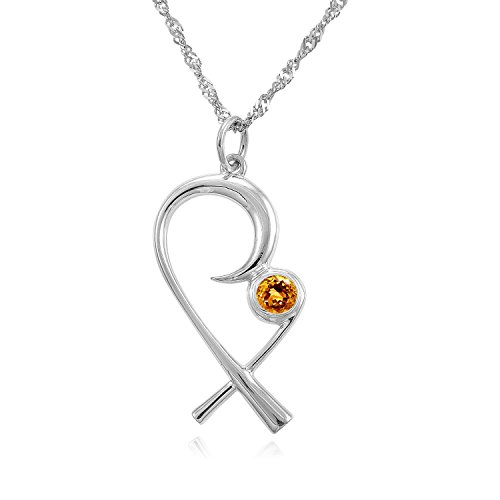 The Mommy Pendant - Mother Embracing Child Pendant in Silver with Birthstone, Citrine (November), 18