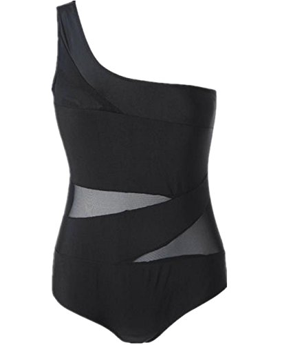 CM-Kid Womens Plus Size Bathing Suits Sexy One Shoulder Mesh One Piece Swimsuit Bikini (XXXL, (Plus Size Teen)
