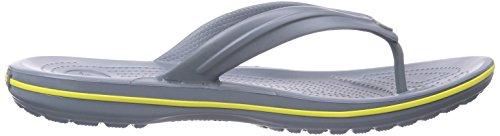 Crocs Crocband Flip, Chanclas Unisex Adulto Gris (Concrete/Chartreuse)
