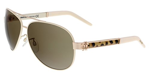 Roberto Cavalli Gorgonea 892S 892/S 33J Gold/Ivory Aviator Sunglasses - Ro Sunglasses