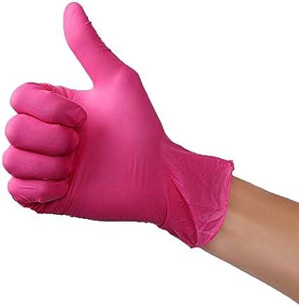 Color : A, Size : S PWEOJW 100pcs Wear-Resistant Durable Nitril Einmalhandschuhe Gummi Latex Lebensmittel Haushaltsreinigung Handschuhe Anti-Static-Rosa