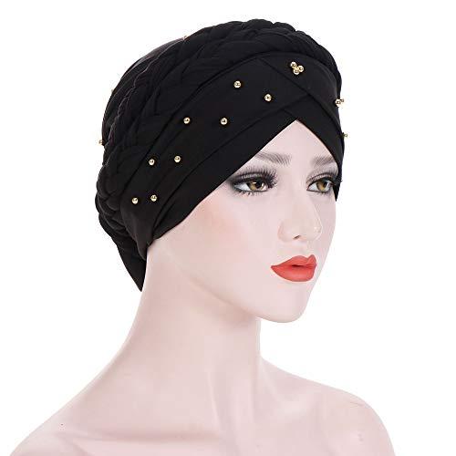 CHIDY Women Beading India Hat Muslim Ruffle Beanie Scarf Turban Wrap Cap Twisted Beaded Beads Accessory -