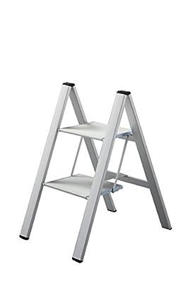 Slim Step 2 Step Silver Design Stepstools Stepladder By Hasegawa Ladders
