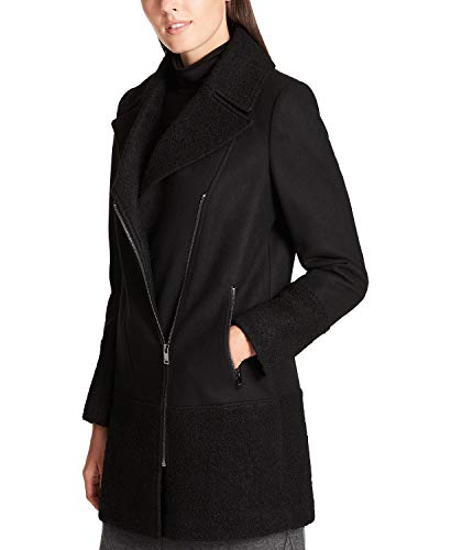 DKNY Women's Textured-Trim Asymmetrical Coat, Black, ()