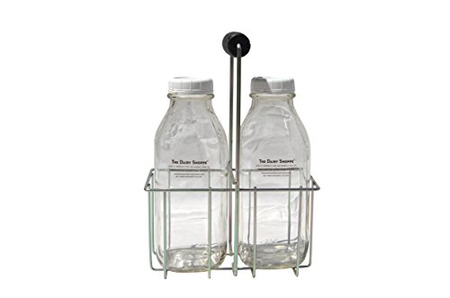 - Wire Bottle Carrier for Libbey, StanPac, The Dairy Shoppe 32 oz bottles (32 oz Round or Square Milk Bottles, 4 Cell Carrier)