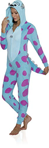 (Disney Women's Faux Fur Licensed Sleepwear Adult Costume Union Suit Pajama (XS-3XL) Sully)