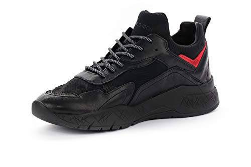 Pelle London Tessuto Running Black Komrad Sneaker Crime Nero Neoprene 0ZqB6x