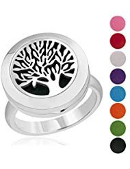 (Tree of Life Essential Oil Diffuser Ring 316L Stainless Steel Magnet Locket Aromatherapy Rings, Best Gift Ideas for Women (Size 9))