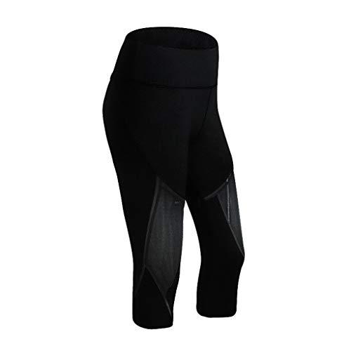 BOLUBILUY Women's High Waist Capris Soft Wide Waistband Running Yoga Pants See Through Leggings Running Athletic Black