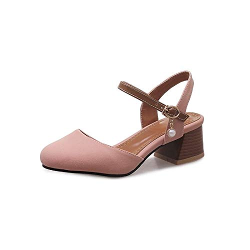 Women's Shoes Comfort PU Heel Polyurethane Heels ZHZNVX Beige Beige Pink Summer Chunky Spring amp; gqAT15dw