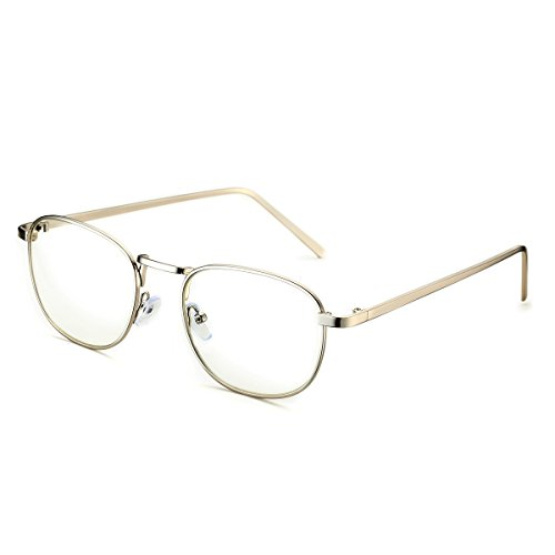 PenSee Optical Large Oval Round Circle Oversized Metal Clear Lens Eye Glasses Eyewear - Round For Shaped Eyeglass Face