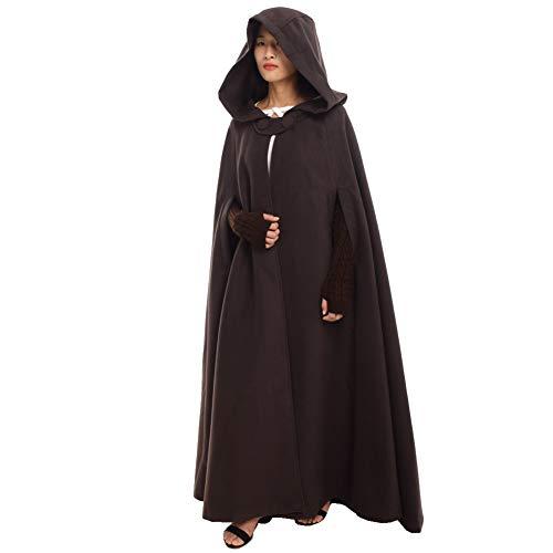 GRACEART Women's Hoodie Woolen Cape Cloak Costume Long Brown -