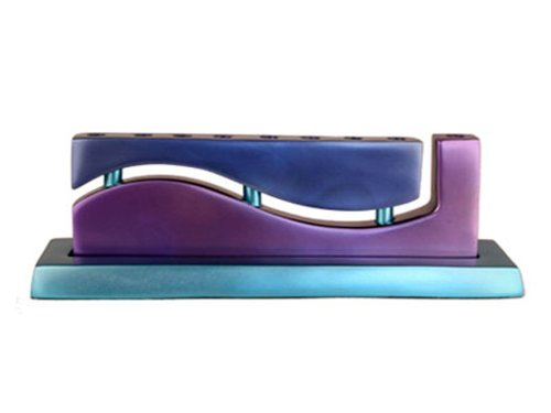Anodized Aluminum Purple and Blue ''Wave'' Hanukkah Menorah By Yair Emanuel