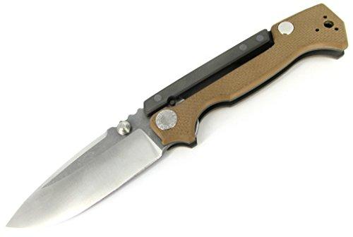 (Demko Knives MG AD-15 Folder Knife Tan G-10 Scales w/ Full Ti Uppers New Scorpion Lock)