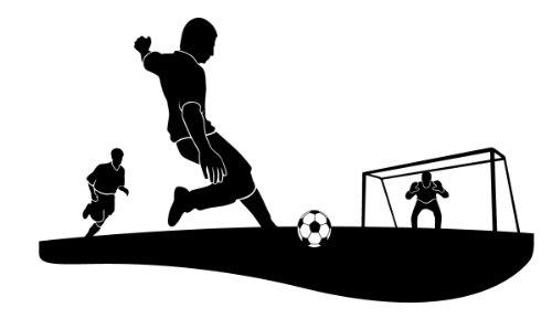 Wandtattoo Wandaufkleber Fussball Torschuss #93B schwarz 156cm x 90cm (RAL9005) VERSANDKOSTENFREI!