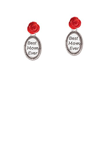 Best Mom Ever Oval - Red Rose Earrings Carved Red Coral Rose Pendant