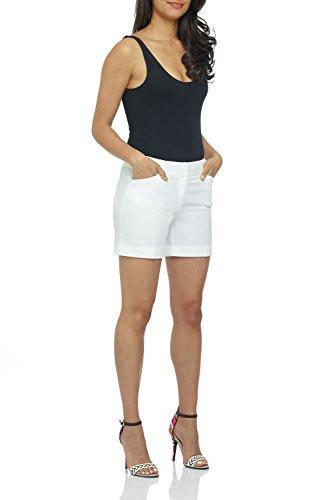 (Rekucci Women's Stretch Cotton Spandex Cuffed Perfect Chino Short (4,White))