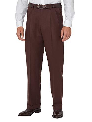 Paul Fredrick Men's Wool Flannel Pleated Pants Coffee 35