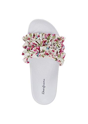 Dearfoams Ruffle Molded Footbed Slide, Pink Floral - Medium (7-8) (Safe Harbour Spring)