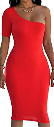 Cruiize Womens Sexy Bodycon Clubwear One-Shoulder Solid Pencil Dress Red X-Small