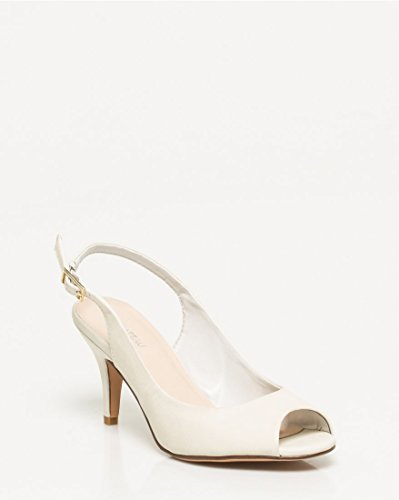 Peep LE Like Off TEAU Toe Leather Sandal Slingback CH Women's White 1Rq47