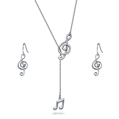 BERRICLE Rhodium Plated Sterling Silver Treble Clef Music Note Fashion Necklace and Earrings Set
