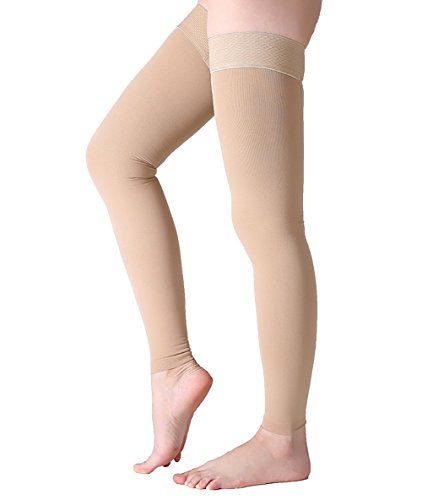 Thigh High Compression Stockings, Footless Compression Sleeves, Firm Support 20-30 mmHg Gradient Compression Socks with Silicone Band, Opaque, Treatment Swelling, Varicose Veins, Edema, Beige L