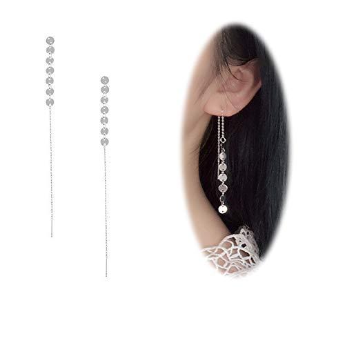 Sterling Silver Sequin - Threader Drop Earring Women Long Dangle Sequins Chain Tassel Bar Ear Stud Clip Jewelry Silver