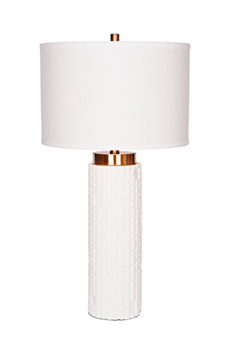 Catalina Lighting 20437-000 Zoe Embossed White Resin and Brass Table Lamp,