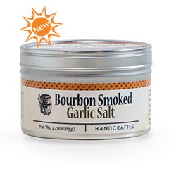 Garlic Salt - Handcrafted Bourbon Smoked Salt Blended with Garlic - 4 Ounce Tin