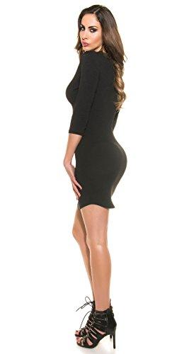 Koucla Les Femmes Est Une Ligne Simple Robe Longue À Manches Taille Noir