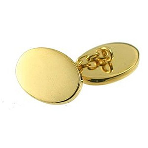 Select Gifts Cuff Links Gold-Tone Chain Cufflinks~Double~Chain~Plain Engraved Personalised Box