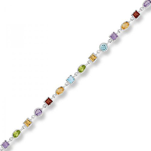 Sterling Silver 925 Multi Colored Genuine Gemstone Womens Bracelet 7