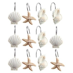 NEW-12-PCS-DECORATIVE-Seashell-Shower-Curtain-Hooks-Bathroom-Beach-Shell-Decor