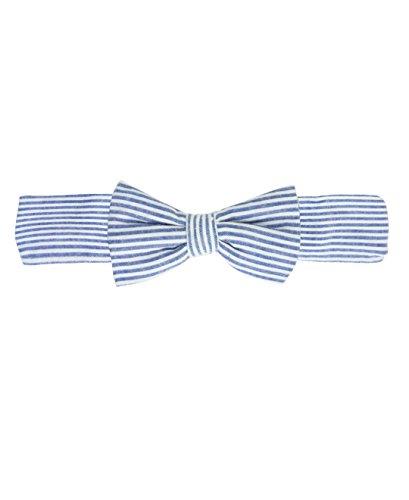 - RuffleButts Baby/Toddler Girls Blue Seersucker Bow Headband - 0-24m