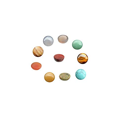 Assorted Gemstone and Crystal 8mm Flat Half Round Cabochons in Bulk Supplies Sold by 20 Pcs (Random Color No Hole)