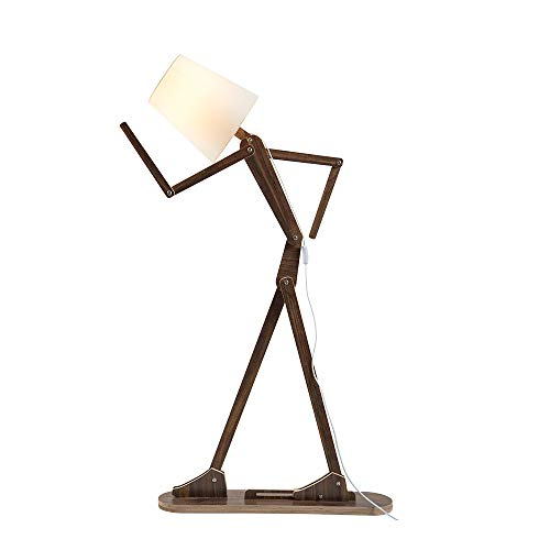 (HROOME Cool Tall Decorative Floor Stand Lights Adjustable Corner Floor Lamp with Shade for Bedroom Office Wooden Swing Arm Lamps (Teak))