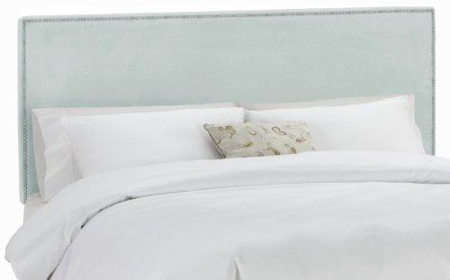 Skyline Furniture Nail Button Border Headboard, Twin, Velvet Pool - Upholstered Headboard Velvet Pool