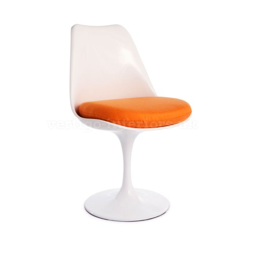1 X * Highest Quality * Saarinen Style Tulip Dining Side Chair – White Chair, Orange Cushion Review
