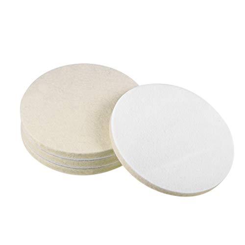 uxcell 5 inch Wool Felt Polishing Pad, Buffing Wheels Polish Pad Disc,Flocking Hook & Loop Back for Random Orbital Sander 4pcs
