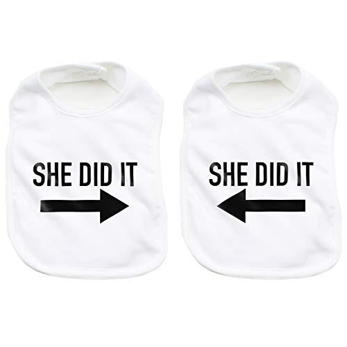 (She Did it 2x Arrow Twin Set Unisex Newborn Baby 100% Cotton Bibs, White)