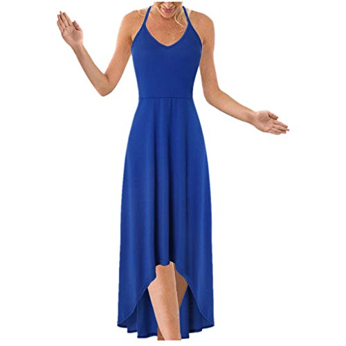 Sunhusing Ladies Sexy Strapless Sleeveless Hanging Neck Sling Lace-Up Solid Color Irregular Hem Halter Dress Blue