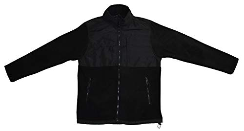 Beverly Hills Polo Club Mens Full Zip Denali Polar Fleece Jacket with Nylon Detail, Black W/Toggle, Small
